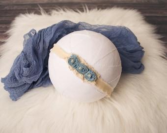 Blue Baby Headband, Denim Tieback, Newborn Headband, Newborn Tieback, Baby Tieback