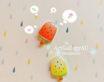 Kawaii watermelon Ice Cream Earrings, Cute Summer Studs, Popsicle, Ice Block, Mismatched Handmade Food Stud Earrings, Gift for Her