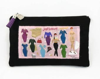 flat Pouch Black canvas and transfer theme mad men joan holloway
