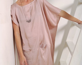 Women's dress Blush dress Pink dress Oversized dress Silk dress Women's silk dress Silk blush dress Women's tunic Women's gown