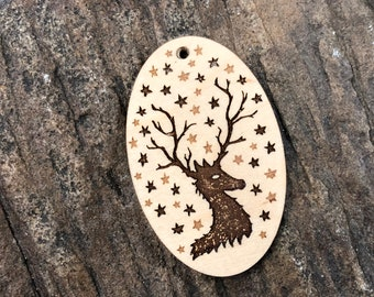 Starry Stag Wooden Pendant