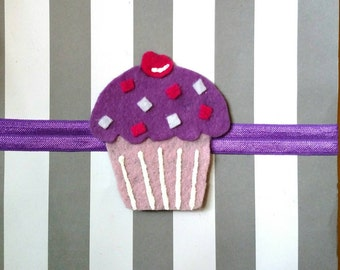 Felt cupcake clip/headband in purple, hot pink and light pink for baby, toddler and adult