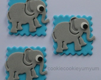 12 edible CUTE BABY ELEPHANT baby shower christening cake cupcake topper decoration wedding anniversary birthday engagement valentine cookie