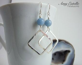 Silver Square Hoop Earrings - Silver Diamond-Shaped Hoop Earrings - Angelite Gemstone Earrings - Gift Under 40