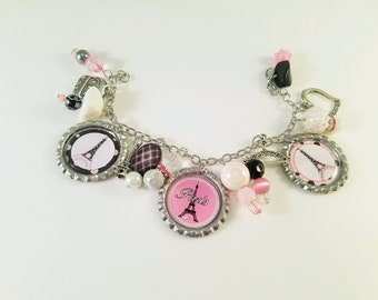 Eiffel Tower Paris Themed Bottlecap Charm Dangle Bracelet
