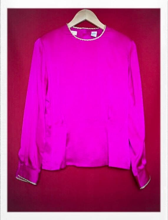 "Vintage Women's Pink Silk Top with Gold Rope Trim Size 4 Silk 18"" width 22"" length"