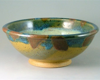Pottery Soup or Salad Bowl - Ivory, Glossy Blue, Red and Olive with Speckles / Handmade Wheelthrown Bowl