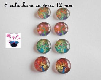 8 glass cabochons 12 mm for loop theme tree of life number 2