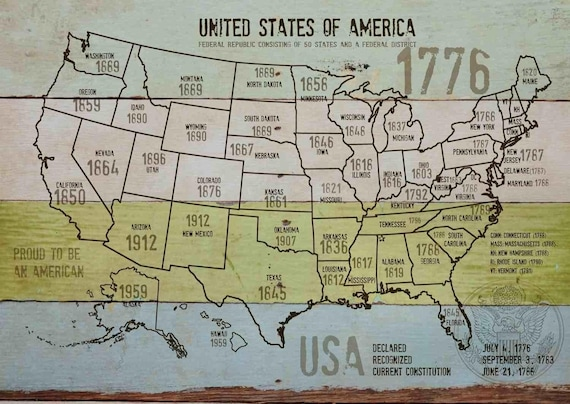 "Map of USA 1776-11. Canvas Print by Irena Orlov 24"" X 36"", large canvas art print, map canvas print, wall decor, office decor"
