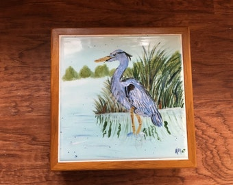 Blue Heron Tile Box