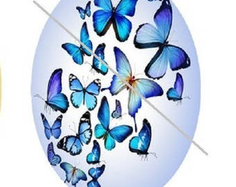 18x25mm blue butterflies