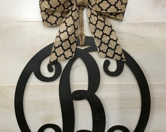 "Wood Vine Monogram 15"" Circle Door Hanger Wall Decor Housewarming Front Door Year Round Farmhouse Shabby Chic Wedding Bow Options"
