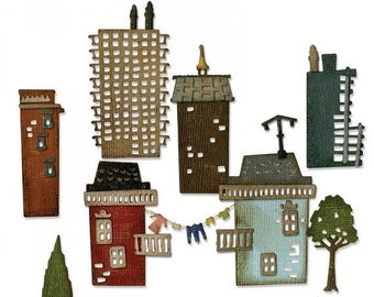 Mothers Day Special: Sizzix Thinlits Die Set 34PK - Cityscape, Suburbia by Tim Holtz 661811