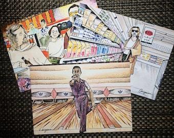 All Three Lebowski-Themed Art Prints! 5x7 color prints