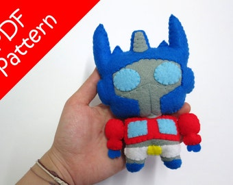 Chibi Optimus Prime Plush PDF Pattern -Instant Digital Download
