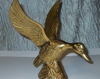 Vintage Brass Duck (ready for take off) 9""
