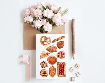 Bakery Goods Breakfast Pastries Bread Greeting Card