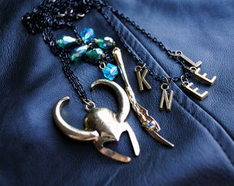 LOKI -- 3 Piece Necklace Set -- Age of Jewelry Collection -- The Avengers -- Fandom Fashion -- Avengers Jewelry -- God Of Mischief
