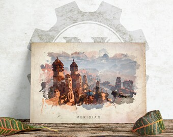 Horizon Zero Dawn - Meridian Abstract Watercolor Poster