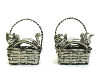 Vintage Cat Napkin Rings. Set of 8. Silver Plate Kitten Figurines in Metal Woven Baskets. Figural Serviette Holders. Shabby Table Decor.