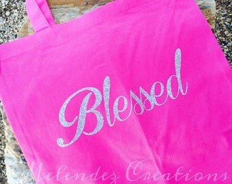 "Custom 13.5"" x 13.5"" Pink Tote Bag Glittered Lettering Blessed"