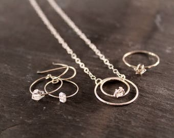 Herkimer Diamond  Eternity Necklace Earring and Ring Set Bundle (Gold Sterling Silver Rose Gold Raw Double Terminated Gifts for her)