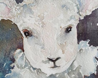 Little Lamb Original watercolor by Amy Woods