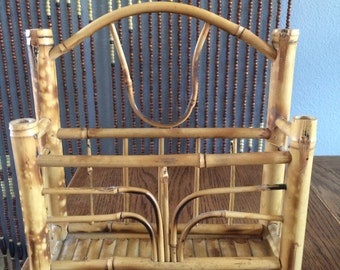70's bamboo and rattan mail holder, boho style