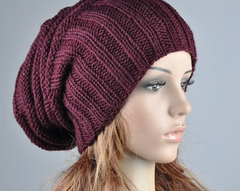 Hand knit hat - Burgundy Chunky Wool Hat, slouchy hat, wine hat