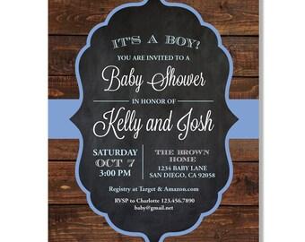 Rustic Wood Chalkboard Baby Shower Invitation  - Digital File