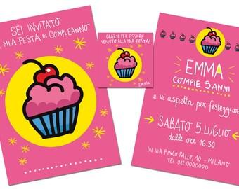 """Birthday's Kit """"Muffin""""   Customizable   Invitation card + thank you card   Burabacio"""