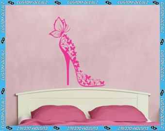 "23"" tall Butterfly High Heel Vinyl Wall Decal / Fashion Decal / Girly Wall Decal / Teen Room Decal / Tween Room Decal / Large Wall Decal"