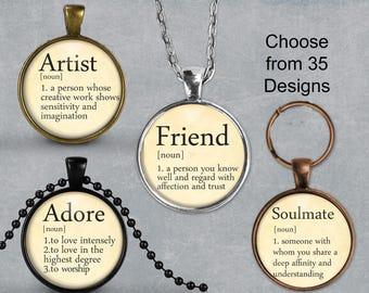 Artist Dictionary Definition Pendant, Friend Necklace or Soulmate Keyring, Glass Art Print Jewelry Charm, joy Pendant, Fortune, Spirit, Love