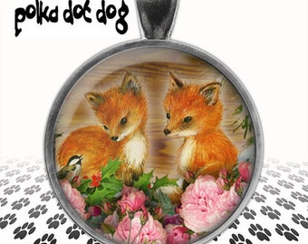Kit and Caboodle -- Fox Kits Large Glass-Covered Pendant