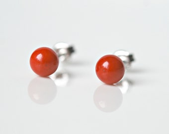 Coral earrings, mothers day, red sea coral stud earrings, ball studs, italian jewelry, coworker gift, tiny studs, simple jewelry, Bibi