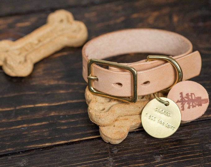 """1"""" Natural Vegetable Tanned Leather Dog Collar with Solid Brass Hardware- Custom Made to Order"""