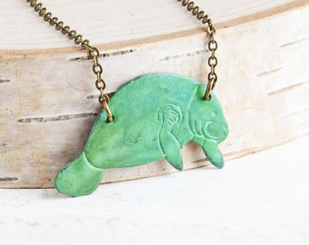 Patina Manatee Necklace on Antiqued Brass Chain, Verdigris Green Patina Jewelry, Animal Lover Gift, Manatee Jewelry