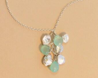 Beach Wedding Necklace, Beachy Bridal Jewelry, Aqua Blue Chalcedony Necklace, Keshi Pearl Necklace, Beach Wedding Jewelry