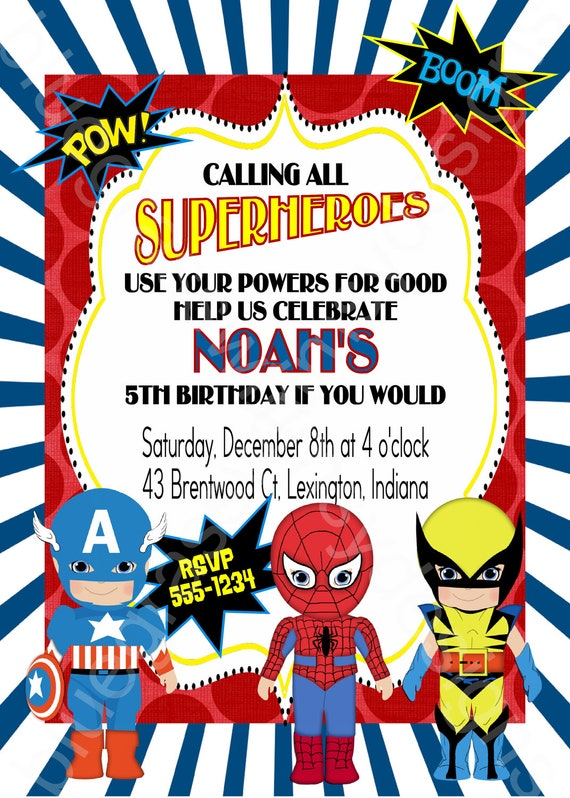 Calling All Superheroes Birthday Party Invitation boy or