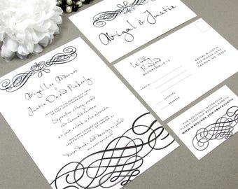 Handwritten Script Wedding Invitations, Black and White Invite Set, Elegant Wedding Pocket Invitation Suite, Formal Wedding Invites Swirl
