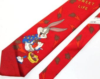 Bugs Bunny Tie rabbit Guy Gift Cartoon tie carrots vintage clothing necktie mens ties lustige krawatten red whats up doc