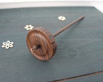Medium Drop Spindle Top Whorl Zebra wood