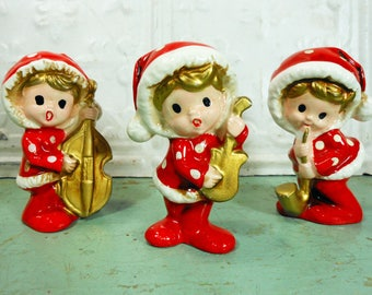 Vintage Inarco Christmas Musicians in Red Polka Dot Pajamas, Red and Gold Christmas Child Music Trio Made in Japan