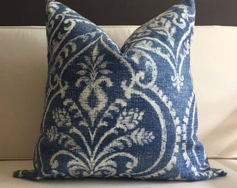 Pillow Cover, Blue Ikat Pillow Cover, ELTON