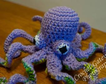 Octopus, Crochet Mini Octopus, Purple Baby Octopus, Sea World, Baby, Nursery, Sea Animals