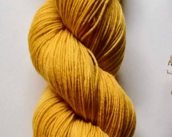 Mustard: hand dyed tonal Merino sock yarn by Star Fiber Studio