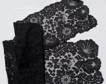 vintage black lace evening shawl, wrap, or scarf