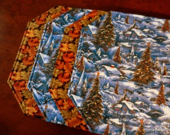 One or more Quilted Placemats, Reversible, Snowy Christmas Village and Green and Rust Fall Leaves, Handmade Table Linens