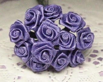1 dozen satin roses on wire stems purple 8mm tiny miniature for dollhouse crafting wedding and scrapbooking