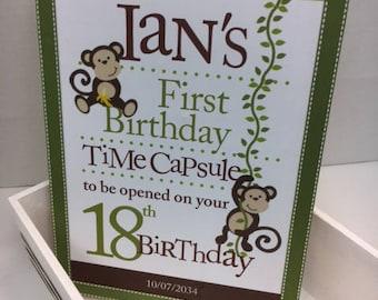 1st Birthday Time Capusule Keepsake box - Monkey Theme